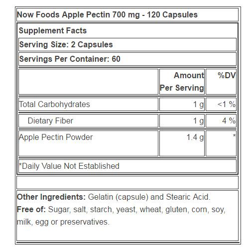 Резултат с изображение за NOW FOODS Apple Pectin 700 mg